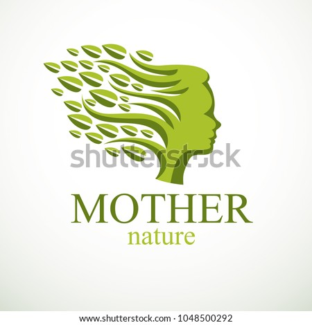 Mother Nature concept, beautiful girl head profile with branches and leaves of natural plant. Vector logo or icon design. Blossoming and growth of everlasting nature, tree and forest planting.