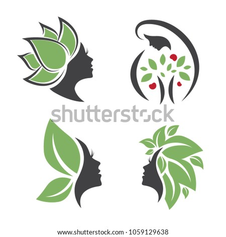 Mother Nature Eco Leaf Natural Logo Woman Face Design Collection