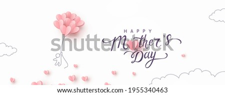 Mother postcard with flying man and pink balloons on white background. Vector paper symbols of love in shape of heart for Happy Mother's Day greeting card design