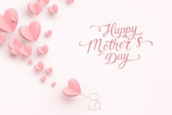 Mother postcard with paper flying elements, man and balloon on pink background. Vector symbols of love in shape of heart for Happy Mother's Day greeting card design.
