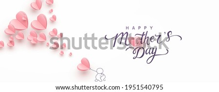 Mother postcard with paper flying elements, man and balloon on pink background. Vector symbols of love in shape of heart for Happy Mother's Day greeting card design
