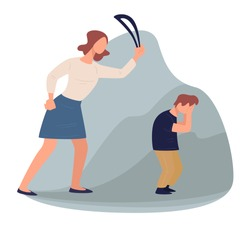 Mother punishing son beating with leather belt. Crying boy afraid of angry mon. Conflict and quarrel in family, misunderstanding between generation. Violence and aggressiveness, vector in flat
