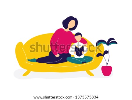 Mother reading book with son on sofa. Flat modern trendy style.Vector illustration character icon. Isolated of white background. Single parent concept.