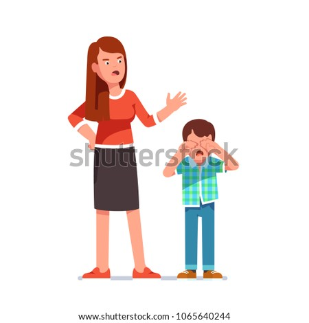 Mother reprimanding disobedient child. Kid crying rubbing eyes with hands. Woman standing over and scolding misbehaving bawling boy screaming at him. Flat style isolated vector illustration