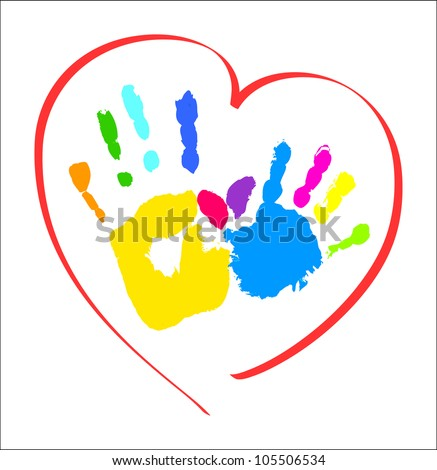 Mother's and kid's hands in a heart