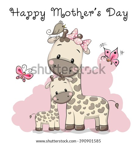 mother's day card with two cute