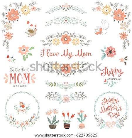 Mother's Day collection with floral and typographic design elements. Decorative flowers, branches, wreath, butterfly, bird, plant pots and vases. Vector illustration.