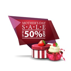 Mother's day discount modern banner with gift, strawberry and cupcake