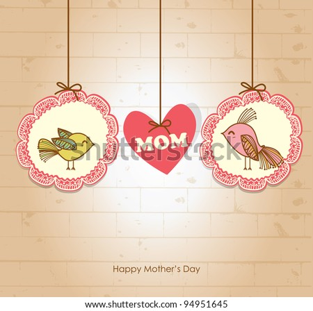 Mother's day greeting card 2 - stock vector