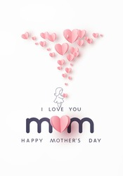 Mother's day greeting card. Vector banner with girl and flying pink paper hearts. Symbols of love on white background