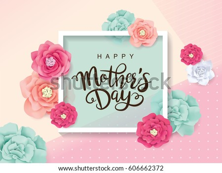 Shutterstock Mother's day greeting card with blossom flowers