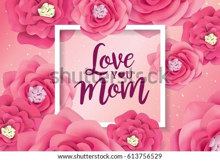 Mother's day greeting card with flowers background #613756529