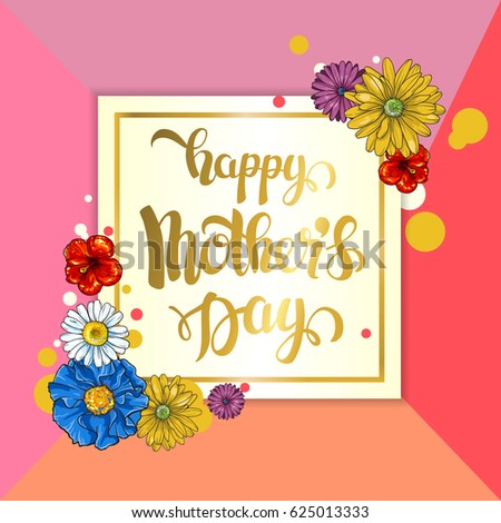 Mother's day greeting card with flowers background.  #625013333