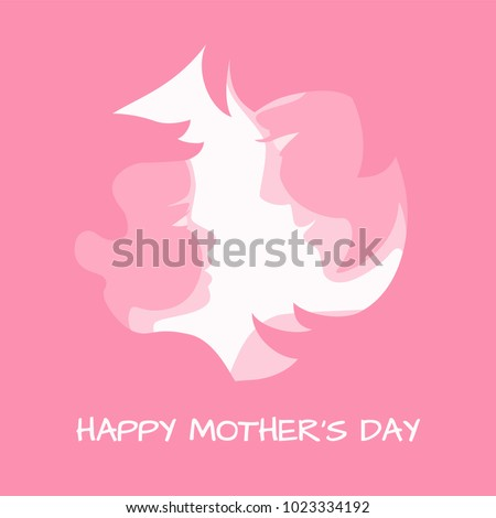 Mother's day holiday design. Mother with her baby stylized silhouettes on pink backgrounds for mothers day greeting card, banner, poster. Vector illustration, all layers are isolated