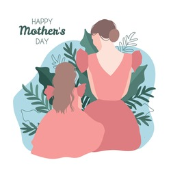 Mother's day Illustration with mother and daughter silhouette and greeting text