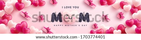 Mother's Day Poster or banner with many sweet hearts and on red background.Promotion and shopping template or background for Love and Mother's day concept.Vector illustration eps 10