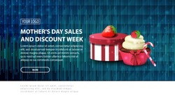 Mother's day sales and discount week, blue modern horizontal discount banner with a modern polygon texture, gift, strawberry and cupcake