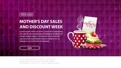 Mother's day sales and discount week, purple modern horizontal discount banner with a modern polygon texture and cup of tea with cupcake