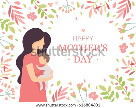 mother's day  vector card  baby
