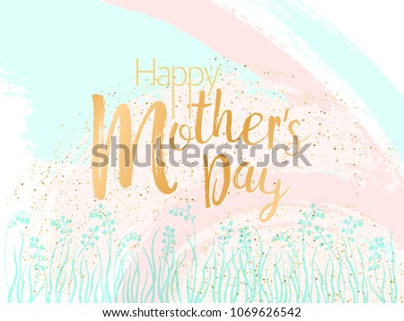 mother's day vector card blue