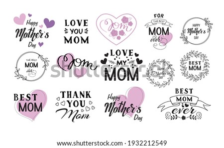 Mother's Day Vector Set, mother's day quote sticker bundle