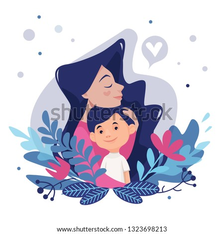 Mother's love.Mom's hug. Mom and son.Vector illustration with floral elements. Card on Mother's Day