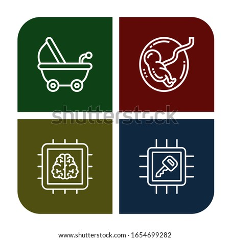 mother simple icons set. Contains such icons as Stroller, Fetus, Chip, can be used for web, mobile and logo
