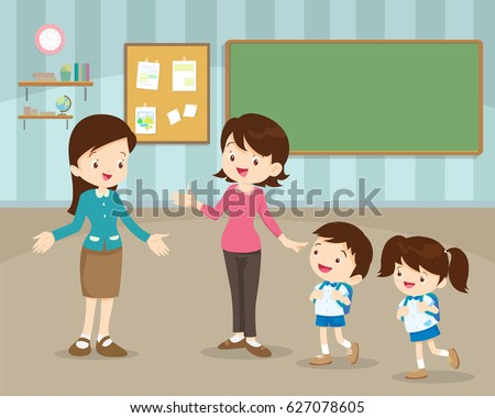 Mother take their children to the school in the morning. Happy kids go to school.