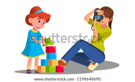 Mom And Child With Play Toys Vector Download Free Vector Art