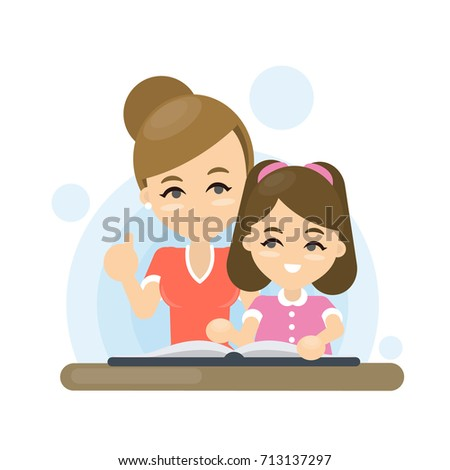 Mother teaches lesson to daughter. Home education, school support.