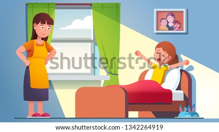 Mother waking daughter kid who is yawning, still lying in bed under blanket. Mom standing at sleepy child bed on late weekend morning. Sun lit home bedroom room interior. Flat vector illustration