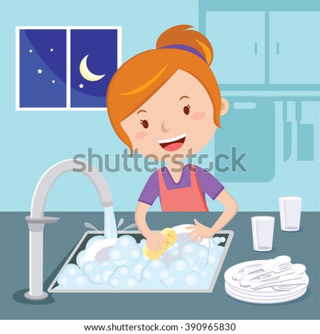 Vector Images, Illustrations and Cliparts: Mother washing ...