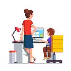 Mother watching over shoulder son kid doing homework on desktop computer sitting at office desk. Mother helping her school student boy. Flat cartoon vector illustration isolated on white background.