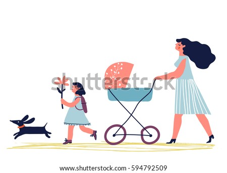 Mother with baby in stroller. Young mother with baby carriage walking with dog and child. Creative vector illustration. Stock photo ©