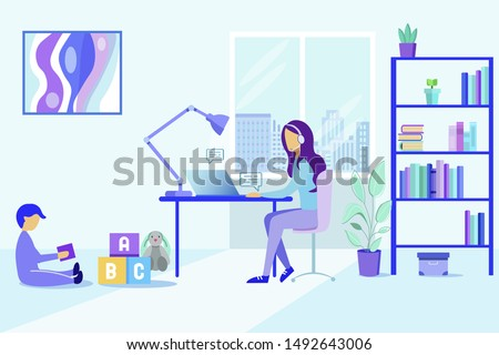 Mother with Child Work at Home Office. Remote Distance Hotline Help. Cartoon Woman in Headphone Consultant. Customer Call Online Helpline. Technical Support Service. Girl Client Assistant