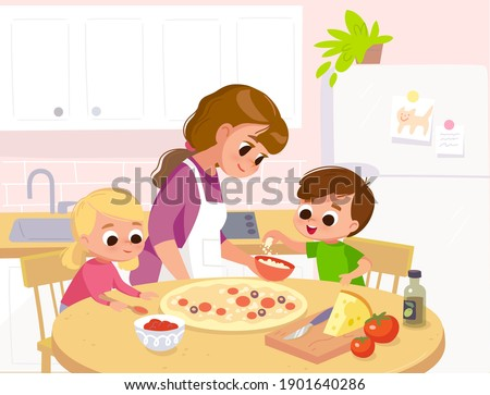 Mother with children preparing, cook homemade pizza. Mom with kids, son and daughter in kitchen teaches  how to cook.