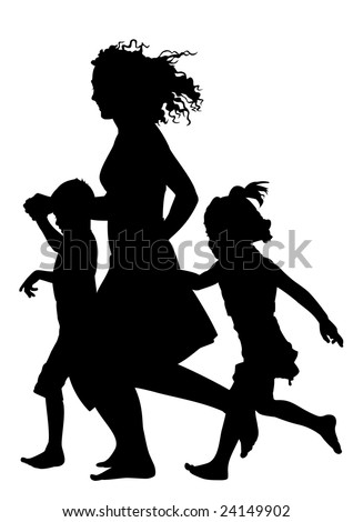 Mother with children running silhouette vector