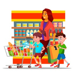Mother With Children Shopping in Hypermarket Vector Characters. Cartoon Family Shopping In Grocery Shop. Mall, Supermarket. Buyers Carrying Bags Drawing. Mom And Kids Buying Food Flat Illustration