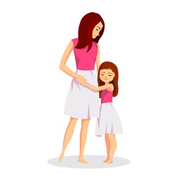 Mother with daughter vector illustration