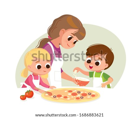 Mother with kids making pizza. Boy and girl cooking. Two kids making pizza. Boy and girl cooking. Boy salting pizza.