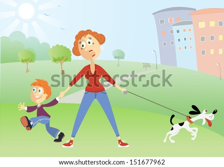 mother with naughty boy walking