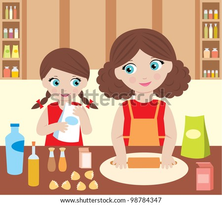 Mother with the daughter cook dough. vector