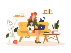 Mother work home with laptop, freelance online office, remote internet work, vector flat illustration. Woman at home online work sitting with computer and child on knees, freelancer or social