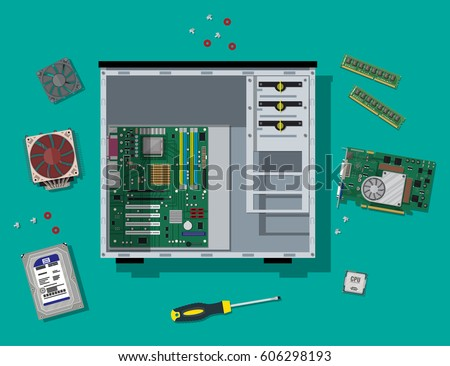 Motherboard, hard drive, cpu, fan, graphic card, memory, screwdriver and case. Assembling PC. Personal computer hardware. Vector illustration in flat style