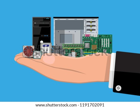 Motherboard, hard drive, cpu, fan, graphic card, memory, screwdriver and case. Set of personal computer hardware in hand. PC components icons. Vector illustration in flat style