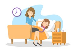 Mothercare for a sick child with fever. Ill kid lying in the bed under blanket. Girl suffer from flu or cold. Isolated vector illustration in cartoon style