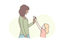 Motherhood, childhood, congratulation concept. Illustration of international family. Friendship between mother and daughter in cartoon style. Young woman or girl congratulates her child for success.