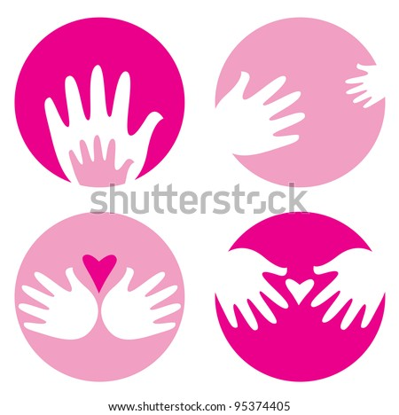 Motherhood, helpful hands icons isolated on white