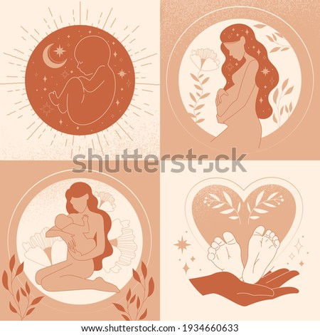 Motherhood, Maternity, Pregnancy, Childbirth and Baby concept with sequential scenes with foetus, pregnant woman, newborn baby suckling and baby in hands, set of monochrome vector illustrations