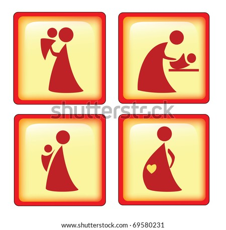 motherhood, mother and child symbol, icons set - stock vector